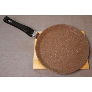 Сковорода литая из алюминия блинная 24см (гранит коричневый)